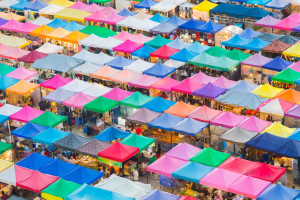 45629351 - colorful of flea market roof top in bangkok thailand
